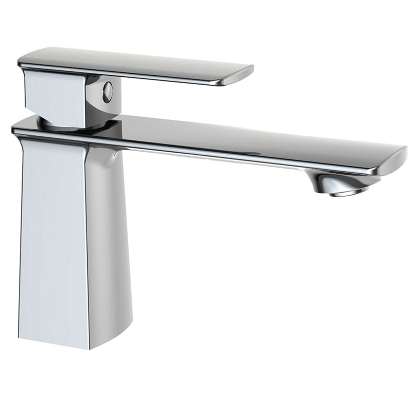 Copper Basin Faucet Single Handle Hot and Cold Water Mixing Valve, Chrome Single Hole