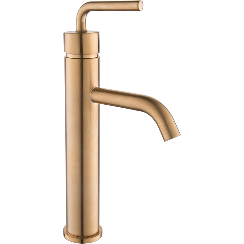 High neck Golden Brush mixer Vessel Sink faucet