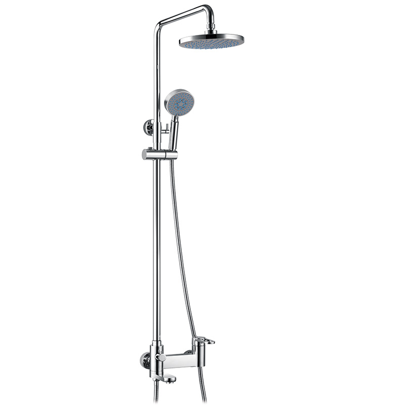 Extensible shower column with faucet mixer