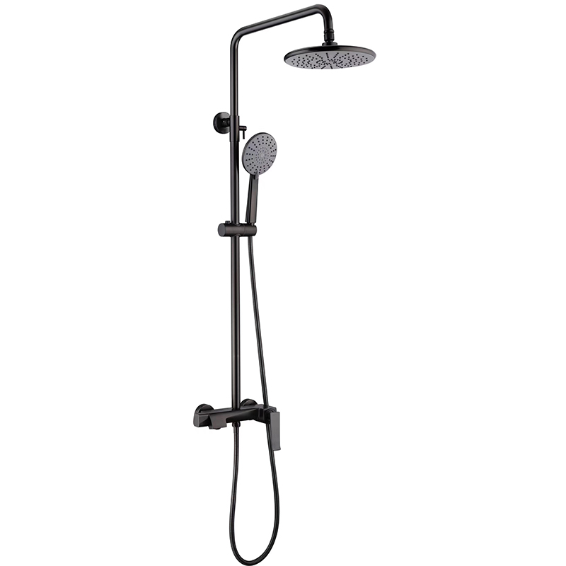 Adjustable shower column in gun metal