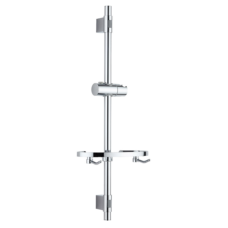 Bathroom sliderbar with soapdish and two towel hooks