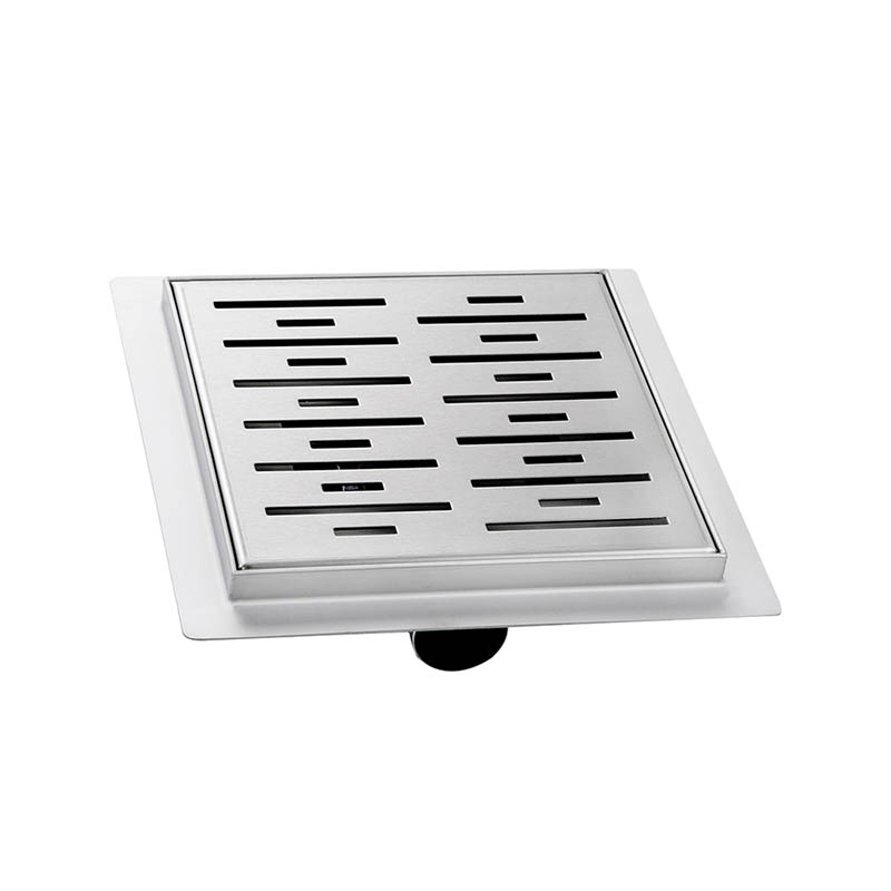 Square Shower Drain with Adjustable Leveling Feet and Hair Catcher