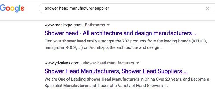 find shower head manufacturer on Google